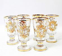 Satz 6 dekorative Trinkgläser, wohl deutsch 20./21. Jh., farbloses Transparentglas.