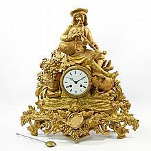 BARRARD & VIGNON, prunkvolle Kaminuhr, Frankreich um 1880, wohl Bronze goldfarben gefaßt.
