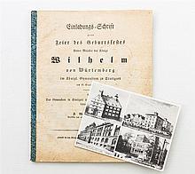 Original-Einladungsschrift zum Geburtstagsfest Seiner Majestät des Königs Wilhelm I. von Württemberg - im königlichen Gymnasium Stuttgart