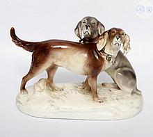ROXAL DUX Gruppe zweier Hunde, 20.Jh.,