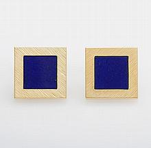 Paar Manschettenknöpfe mit Lapiseinlagen, GG 18K.