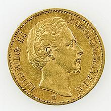 Bayern/GOLD - 20 Mark 1872 D, Ludwig II.,