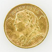 Schweiz/GOLD - 20 Franken 1947 B, Vreneli,