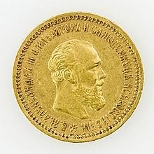 Russland/GOLD - 5 Rubel 1890, Alexander III.,