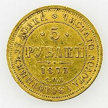 Russland - 5 Rubel 1873/SPB - HI (NI), Alexander II., GOLD,
