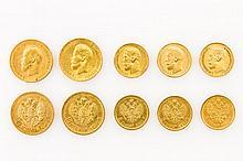 Russland/GOLD - Konvolut: 4 x 10 Rubel 1899 (2x), 1900, 1903, Nikolaus II.,