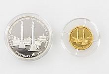 Russland/GOLD und Silber - Konvolut: 1 x 1/4 Unze Au fein 'Ballerina' Winterpalast St. Petersburg und