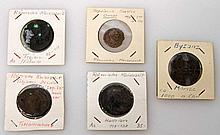 Antike/Römisches Kaiserreich/Byzanz - Konvolut von 5 Münzen,
