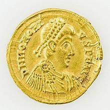Antike, Rom: Honorius (393-423), GOLD Solidus, Mailand, 395-402,