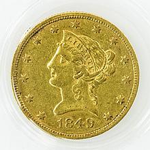USA - 10 Dollars, Liberty, 1849, GOLD,