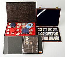 Fundgrube mit viel Silber - Album und 2 Schatullen mit zahlreichen Münzen und Medaillen,