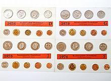 BRD - 4 x Kursmünzensatz 1978, alle Prägestätten,