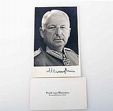 III. Reich - Generalfeldmarschall Erich von Manstein, Konvolut: