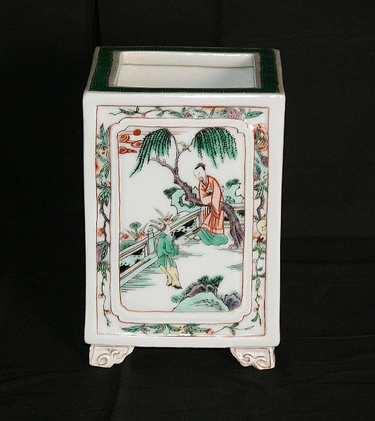 18th C Chinese porcelain square form vase with six