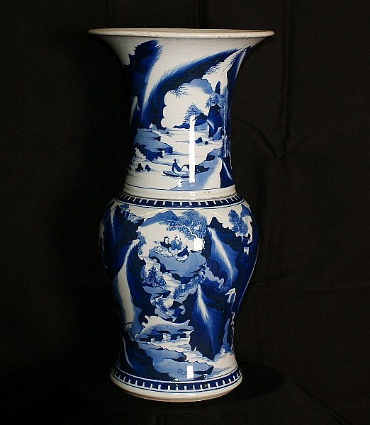 Chinese 17th C porcelain blue and white vase .