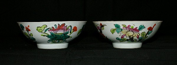 Pair Chinese porcelain bowls