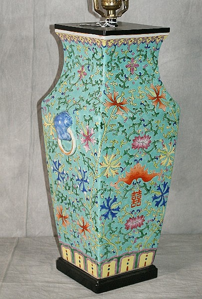 19th/20th C Chinese porcelain vase mounted as lamp.
