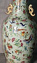 Large 18th C Chinese celedon porcelain vase with enamel birds, butterflies, and flowers.