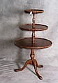 Mahogany 3 tier dumbwaiter table. H:41