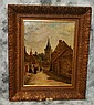 19th C oil on canvas of village scene, signed.