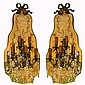 Pair of mirror back five arm bronze and crystal wall sconces by Jansen.