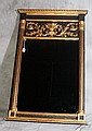 Italian gilt and ebonized carved wood trumeau mirror. H:51