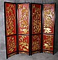 19th C Chinese heavily carved gilt and laquered 4 panel floor screen. H:72