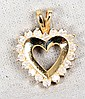 L16 14K YELLOW GOLD DIAMOND HEART PENDANT GIA CERTIFIED .90 CTW