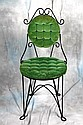 L35 VINTAGE TWISTED IRON WIRE UPHOLSTERED TUFTED VANITY CHAIR