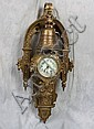 L172 ANTIQUE RARE FRENCH MARTI ORMOLU FIGURAL CLOCK