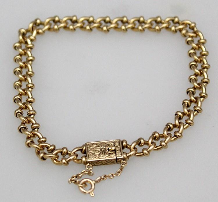 L122 SOLID 18 kt YELLOW GOLD ORNATE FANCY LINK BRACELET 22.7 GRAMS