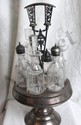 L15 VTG 1920s ORNATE 6 POSITION CRUET / SHAKER SET W/ ART DECO SILVER PLATE BASE