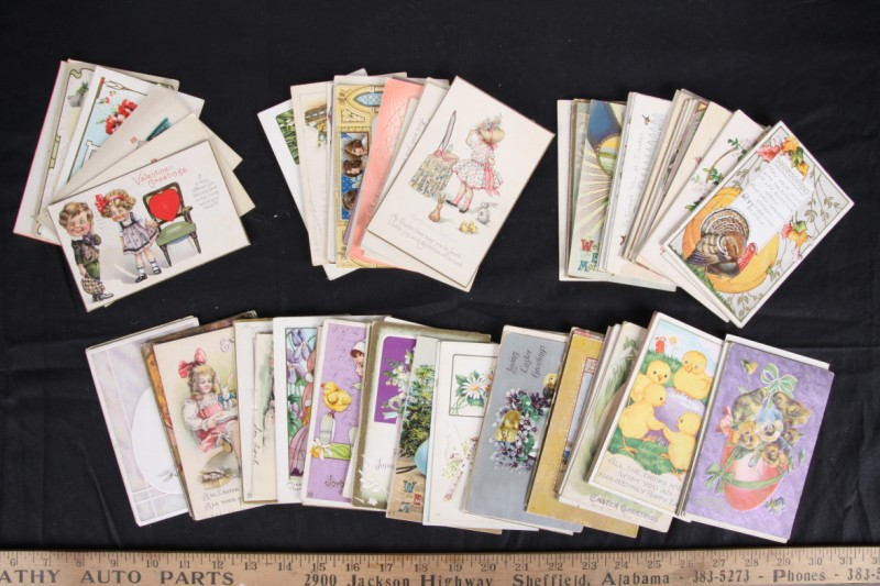 L128 LOT OVER 60 ANTIQUE EASTER POSTCARDS HOLIDAY ANIMALS CHILDREN