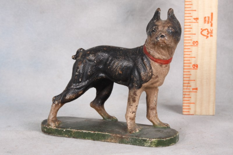 "L302 VINTAGE BOSTON TERRIER CAST IRON METAL DOOR STOP DOG 4.75"" TALL SOLID"