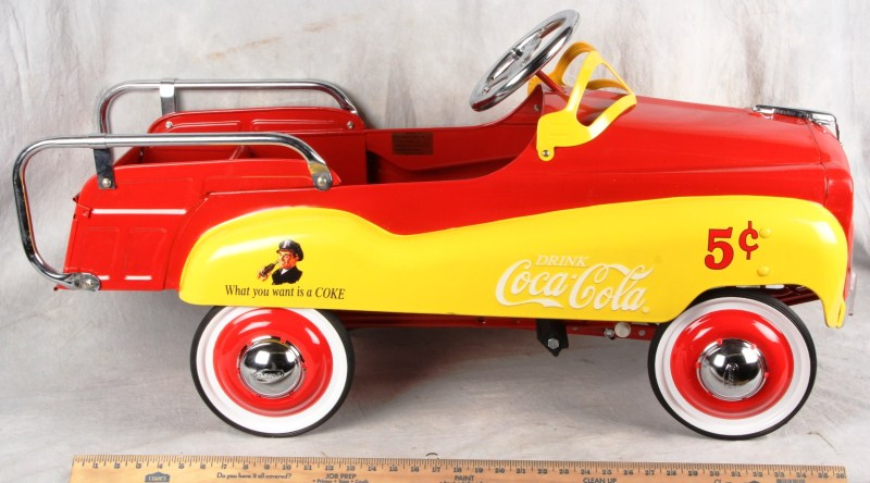 L4 GEARBOX PEDAL CAR CO 2000 PRESSED STEEL 1952 SLOGAN COCA-COLA DELIVERY WAGON