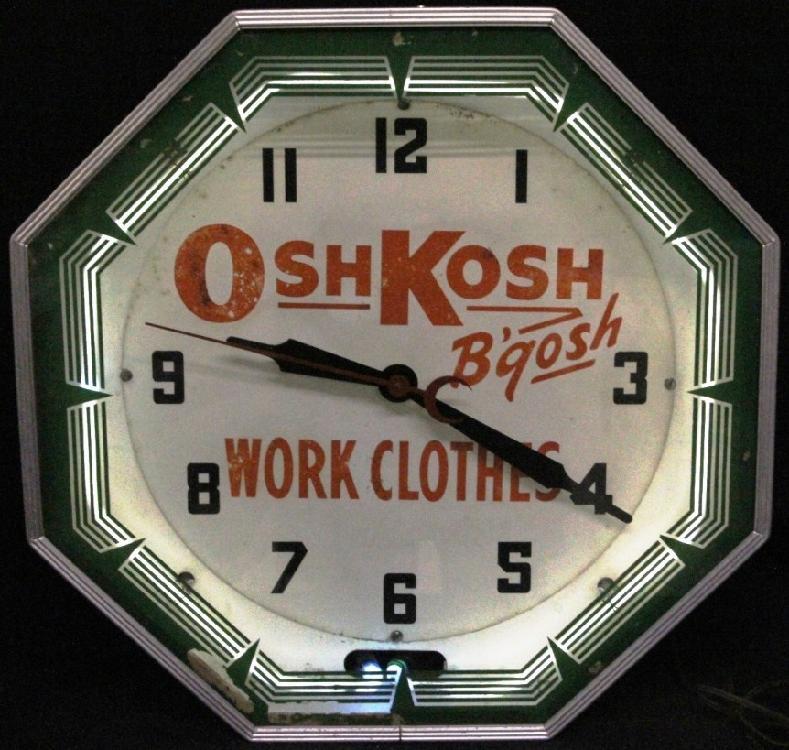L102 VINTAGE RARE ORIGINAL OSH KOSH 1930-40s NEON PRODUCTS NEON CLOCK