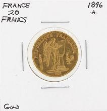 1896-A France 20 Francs Gold Coin