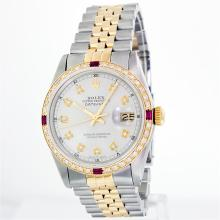 Rolex 14KT Two-Tone Ruby And Diamond DateJust Men's Watch