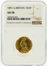 1891 NGC AU58 Great Britain 1 Sovereign Gold Coin