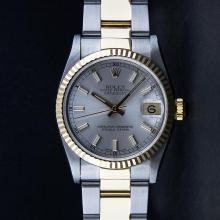 Rolex Two-Tone Silver Index Fluted Bezel Midsize DateJust Watch