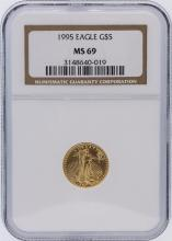 1995 NGC Graded MS69 $5 American Eagle 1/10 oz Gold Coin