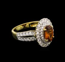 1.87 ctw Sapphire and Diamond Ring - 18KT Yellow Gold