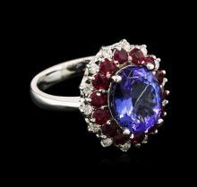 4.20 ctw Tanzanite, Ruby and Diamond Ring - 14KT White Gold