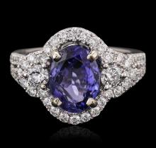 18KT White Gold 2.60 ctw Tanzanite and Diamond Ring