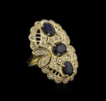 14KT Yellow Gold 5.01 ctw Sapphire and Diamond Ring