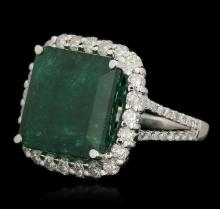 14KT White Gold 8.51 ctw Emerald and Diamond Ring