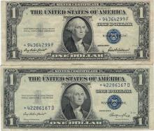 1935 $1 Star Note Silver Certificate Currency Lot of 2