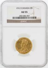 $5 1912 NGC AU55 Canada Gold Coin