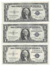 1935 Choice Uncirculated $1 Silver Certificate Currency Lot of 3