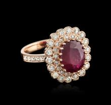 14KT Rose Gold 4.86 ctw Ruby and Diamond Ring